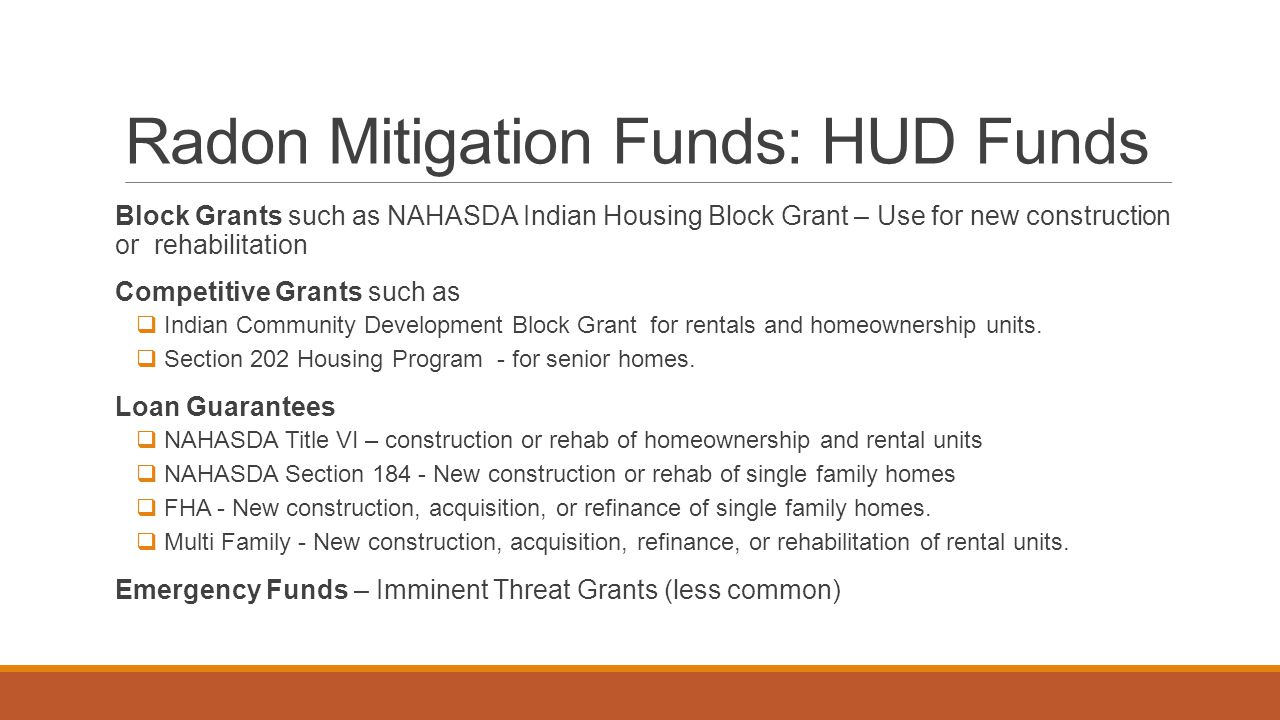 Radon Mitigation Funds: HUD Funds