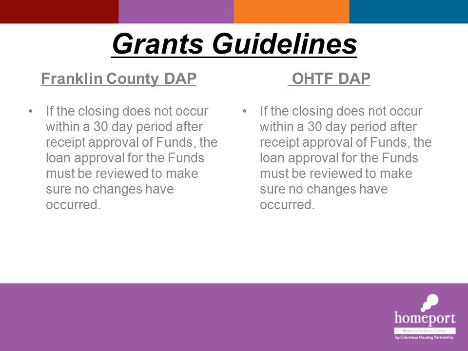 Grants Guidelines I Franklin County DAP OHTF DAP