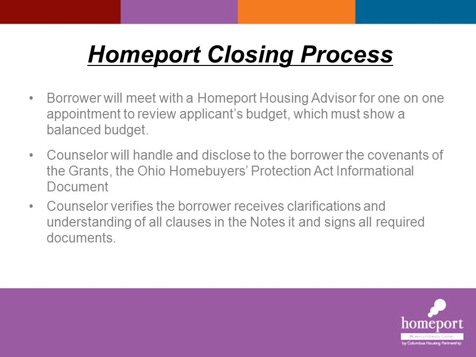 Homeport Closing Process