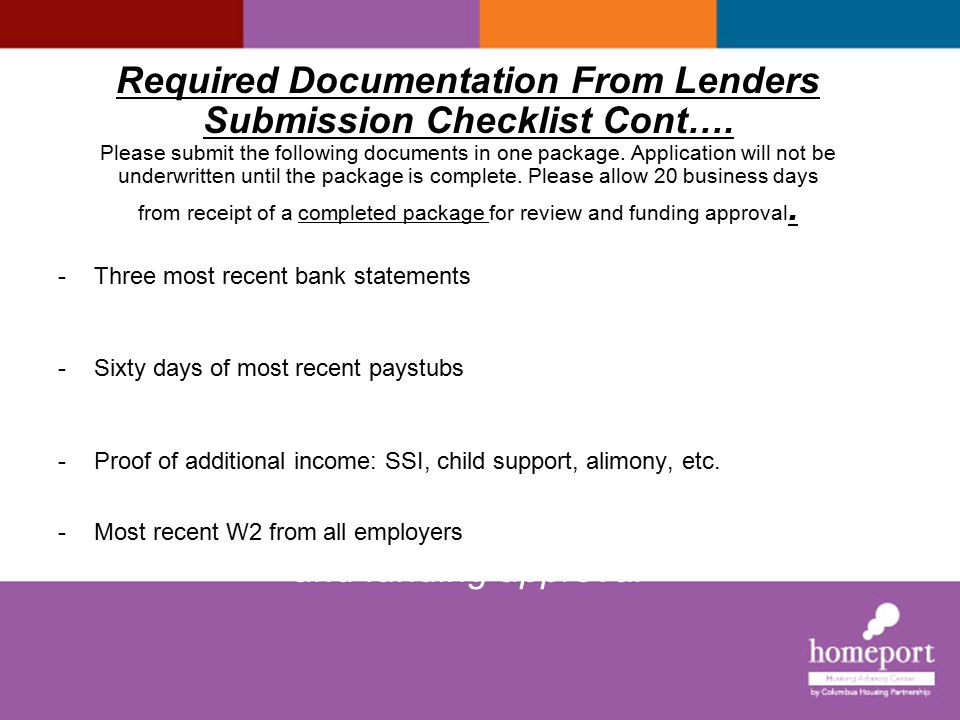 Required Documentation From Lenders Submission Checklist Cont…