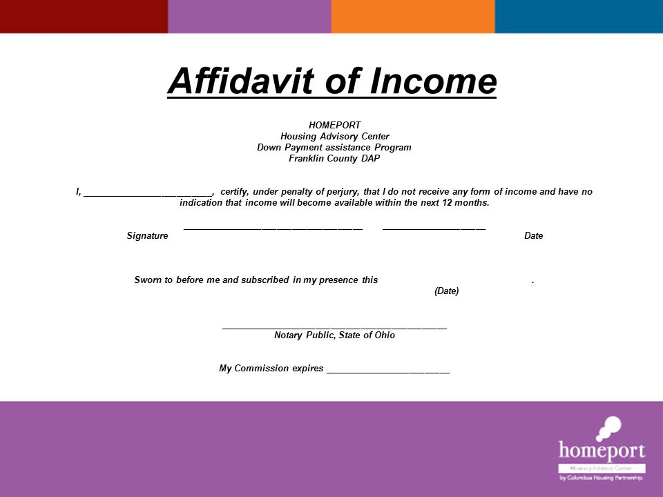 Affidavit of Income