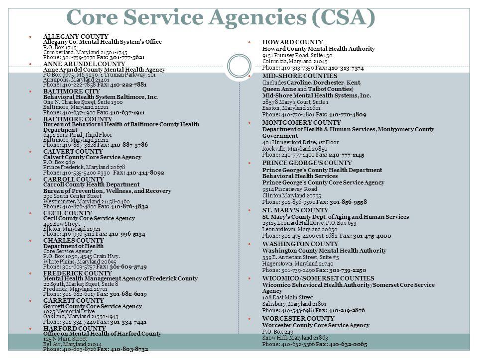 Core Service Agencies (CSA)