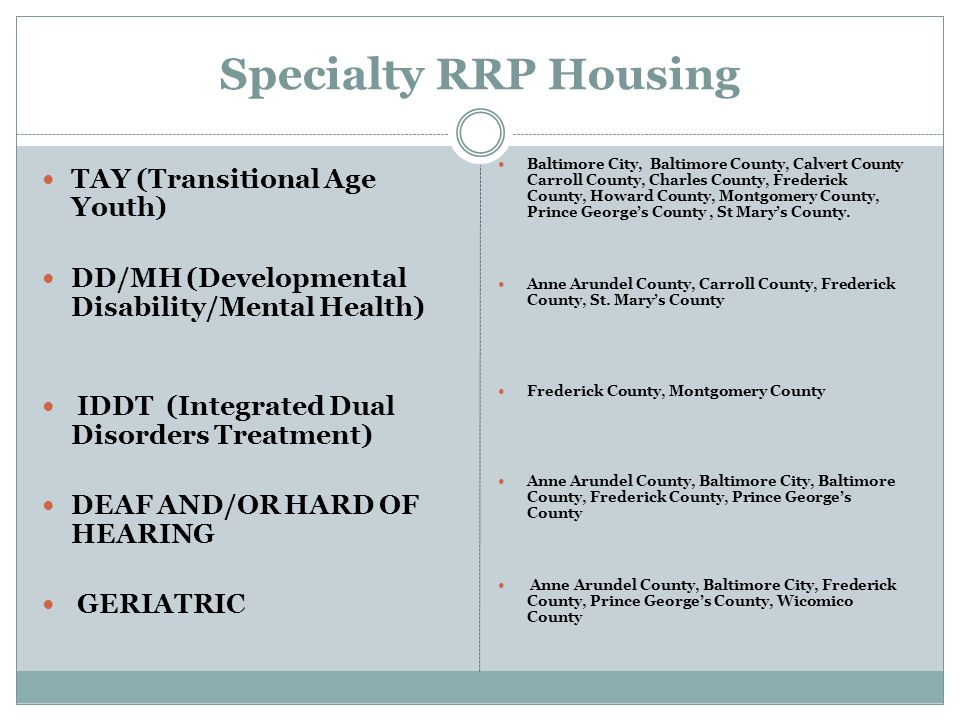 Specialty RRP Housing TAY (Transitional Age Youth)