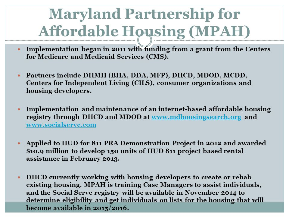 Maryland Partnership for Affordable Housing (MPAH)