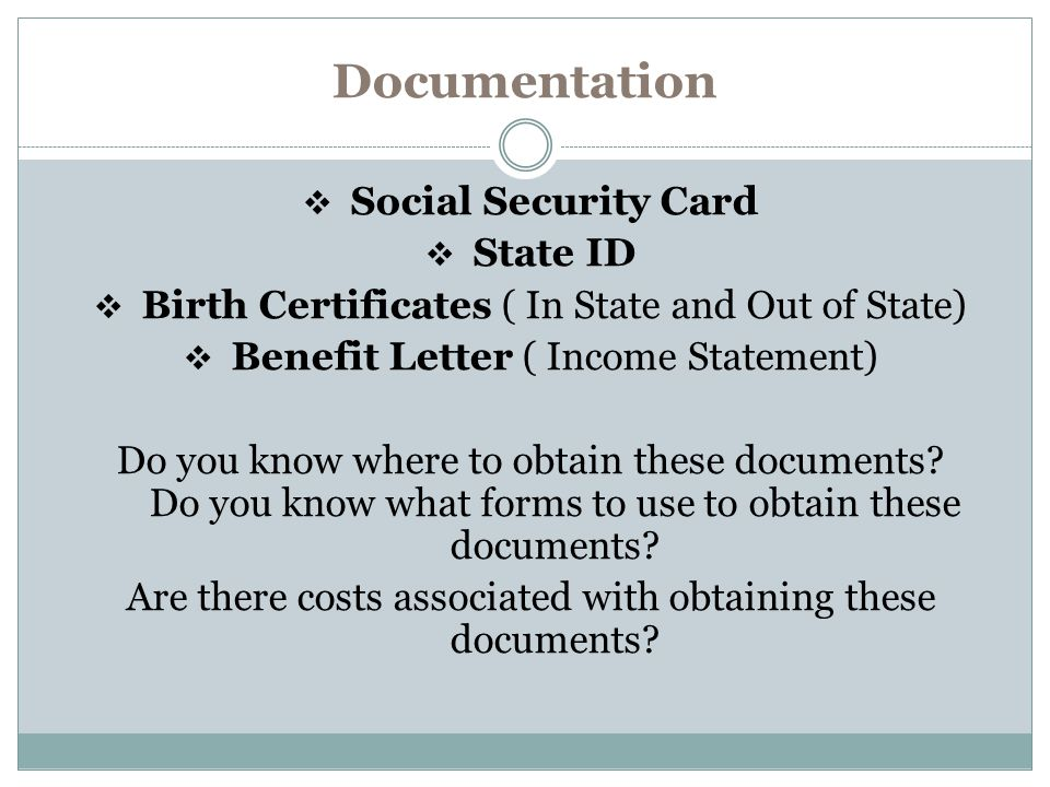 Documentation Social Security Card State ID