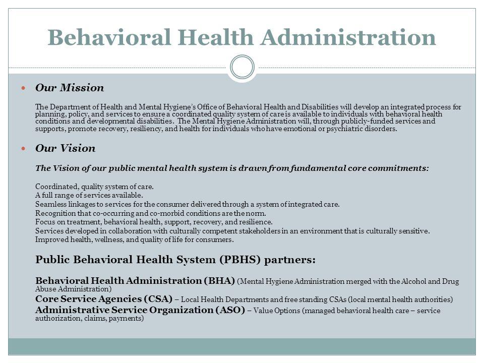 Behavioral Health Administration