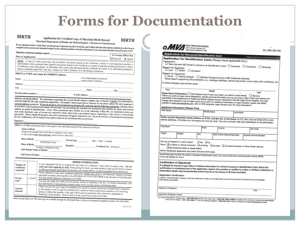 Forms for Documentation