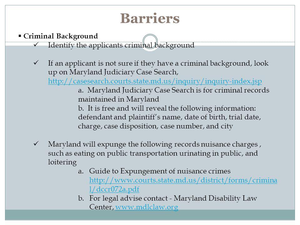 Barriers Criminal Background