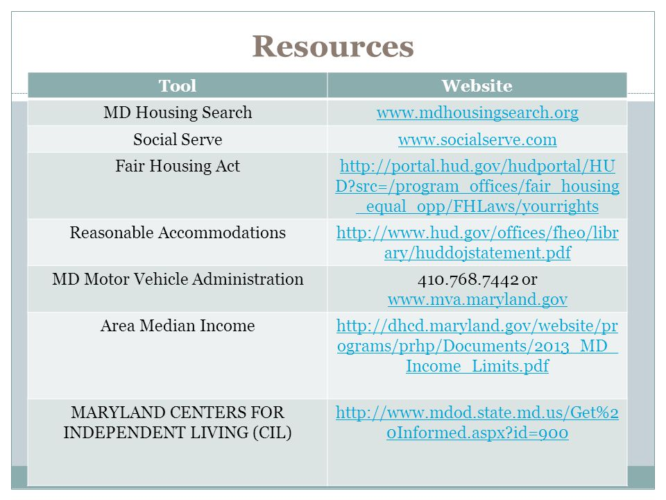 Resources Tool Website MD Housing Search www.mdhousingsearch.org