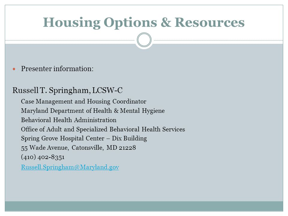 Housing Options & Resources