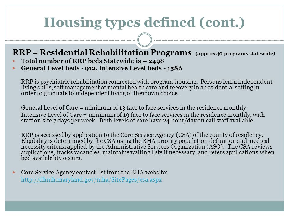 Housing types defined (cont.)