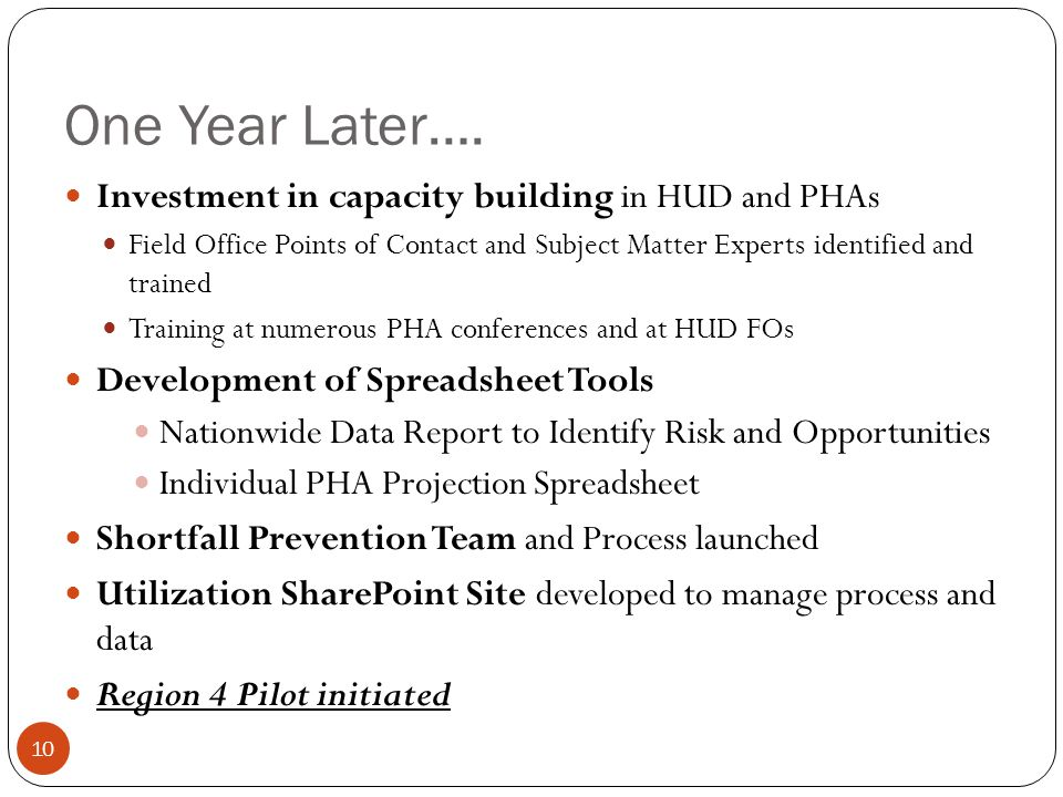 One Year Later…. Investment in capacity building in HUD and PHAs