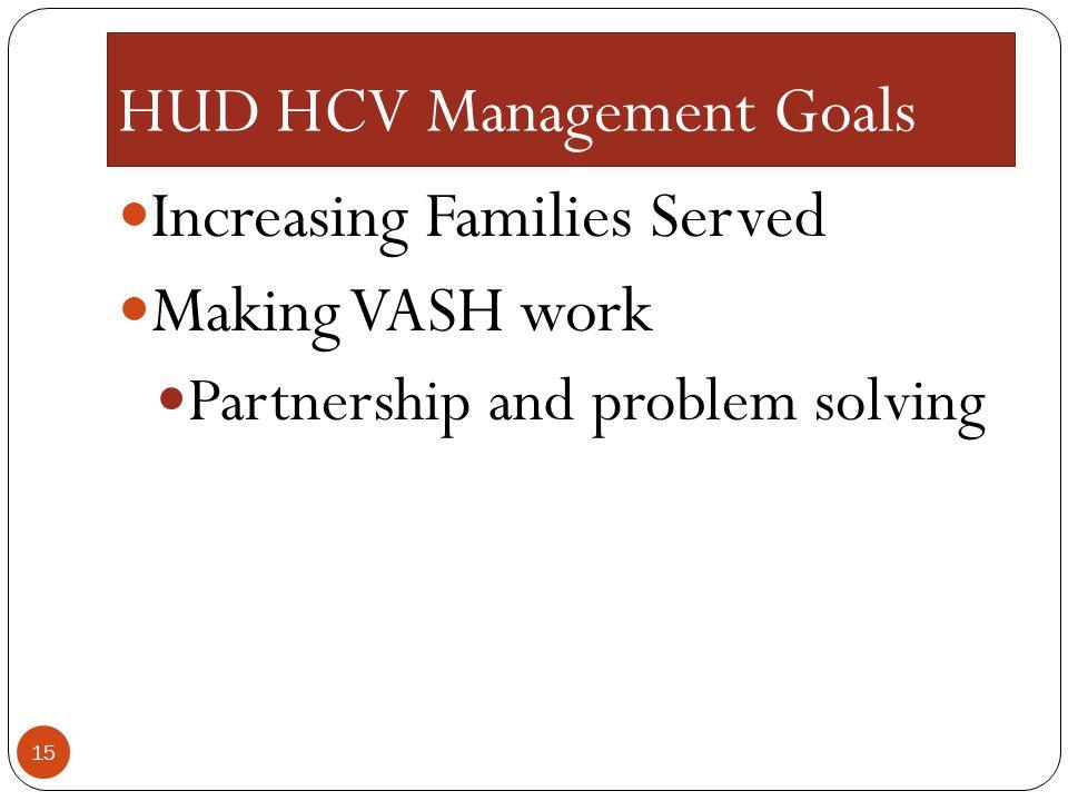HUD HCV Management Goals
