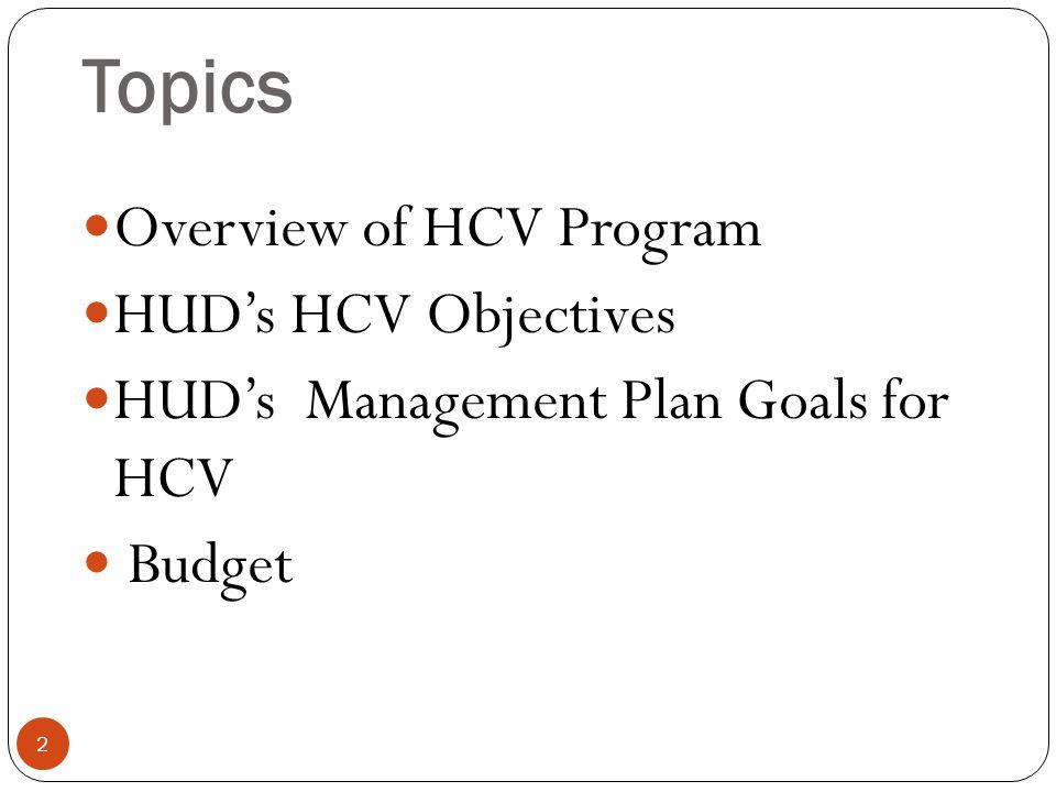 Topics Overview of HCV Program HUD's HCV Objectives