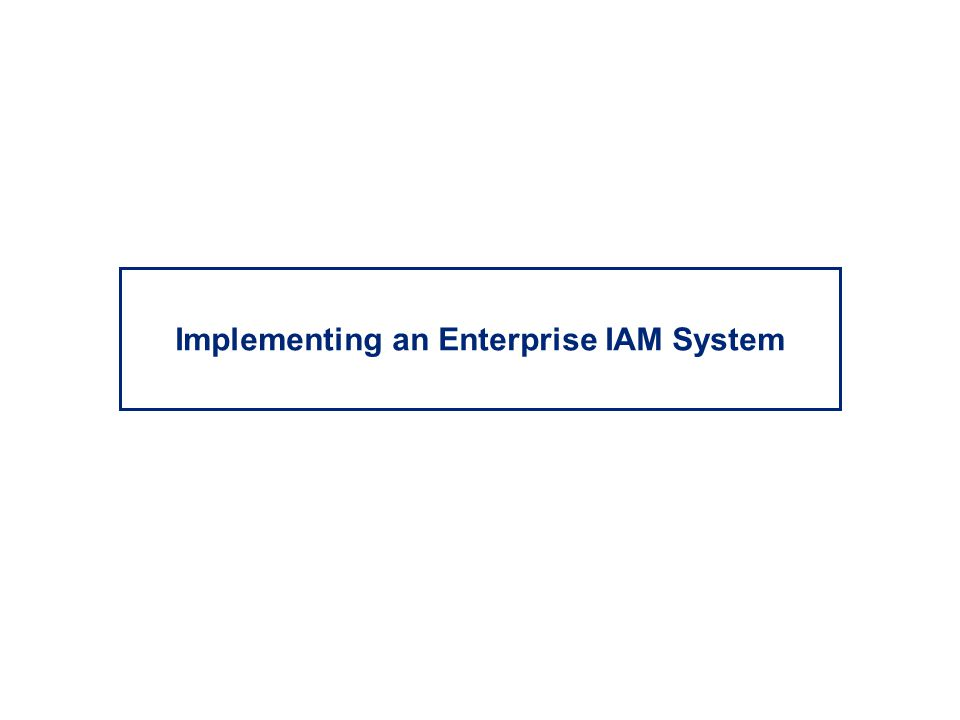 Implementing an Enterprise IAM System