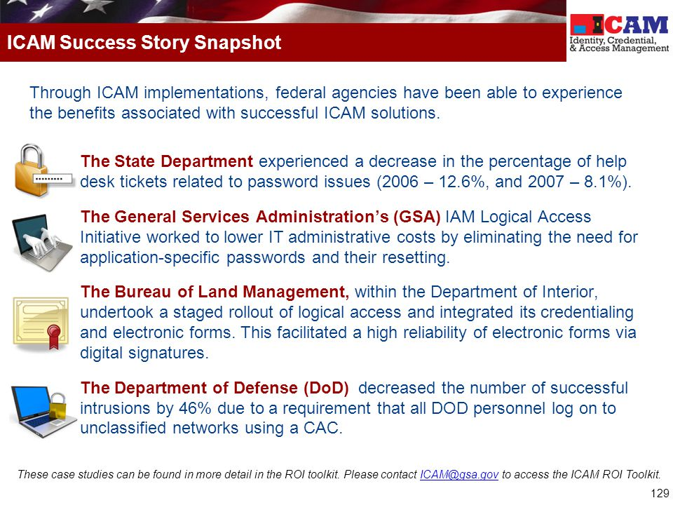 ICAM Success Story Snapshot