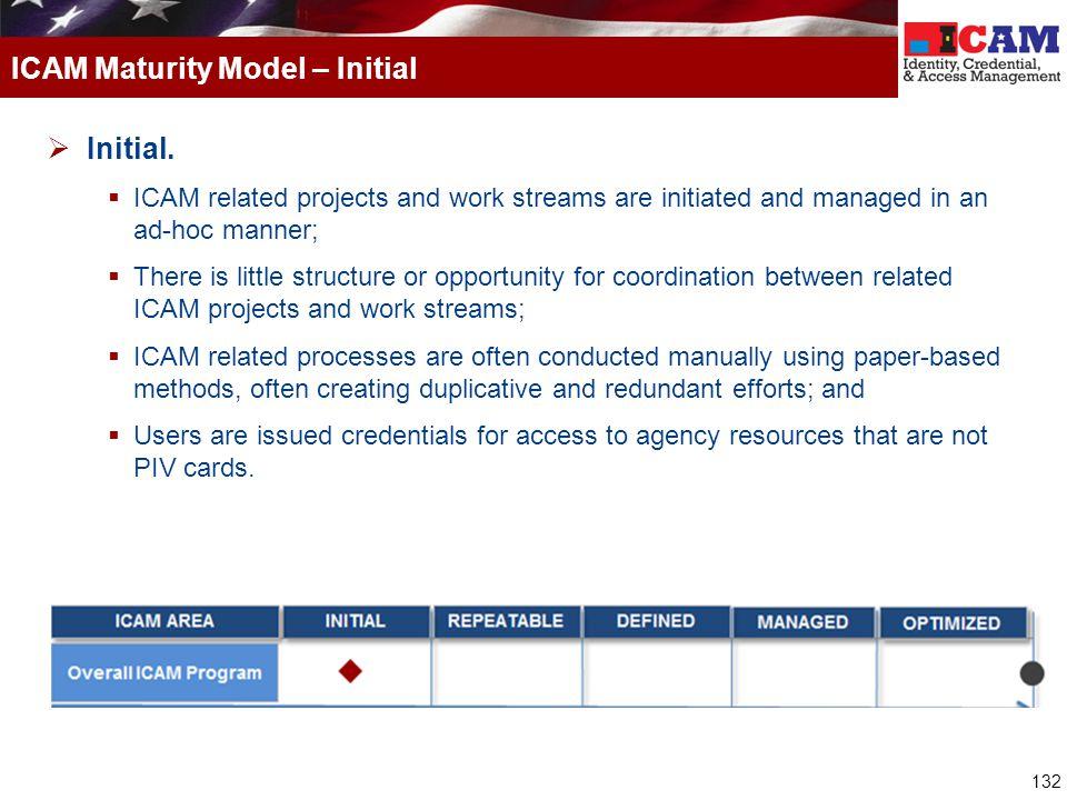 ICAM Maturity Model – Initial