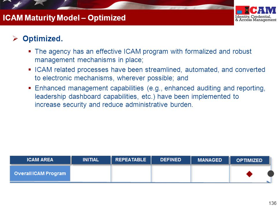 ICAM Maturity Model – Optimized