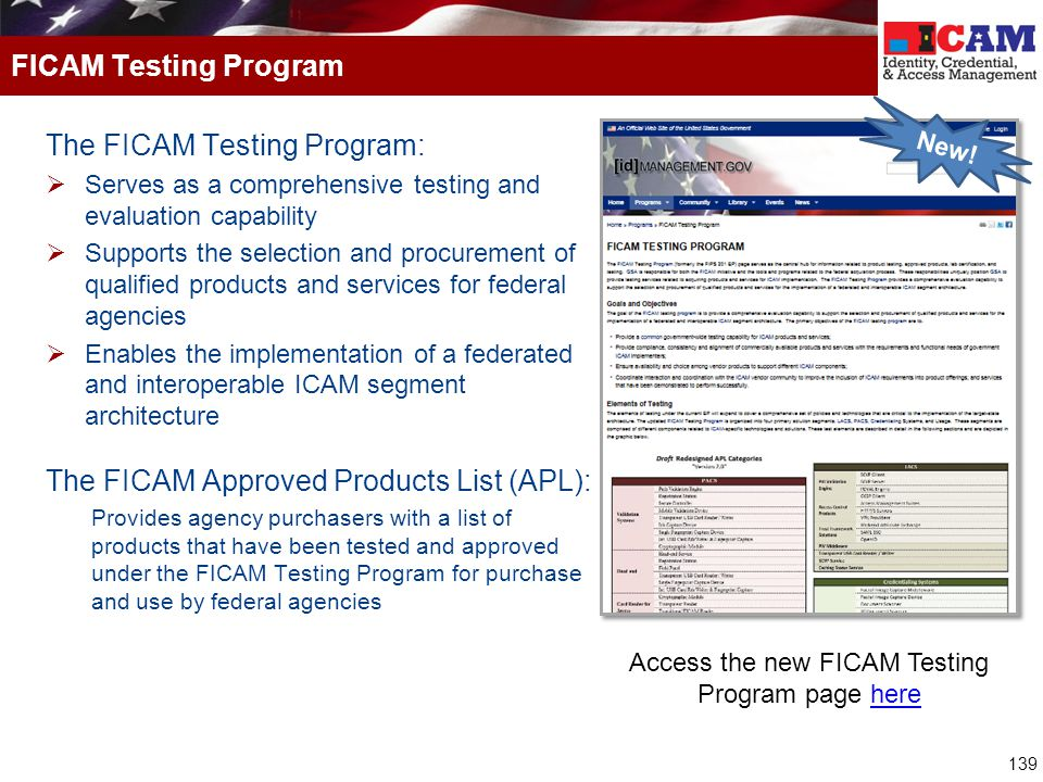 Access the new FICAM Testing Program page here