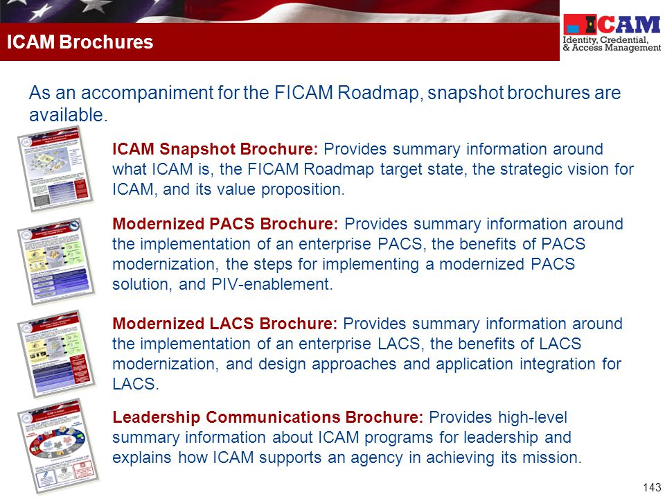 ICAM Brochures As an accompaniment for the FICAM Roadmap, snapshot brochures are available.