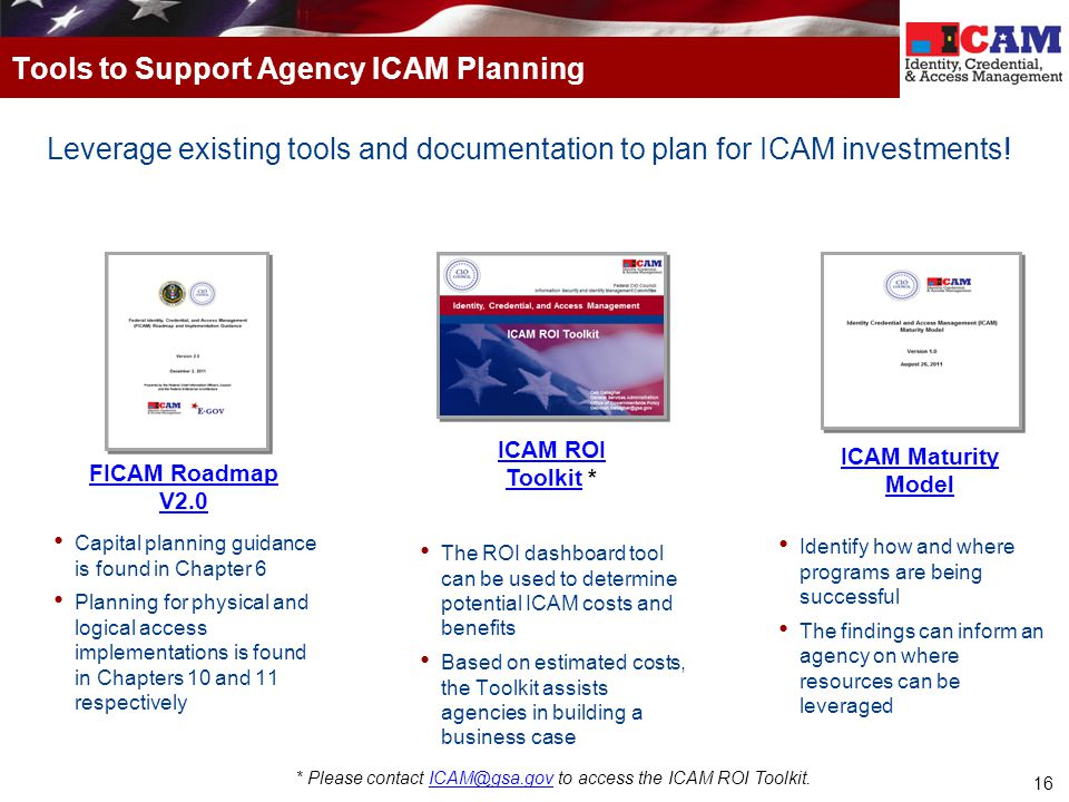 Tools to Support Agency ICAM Planning