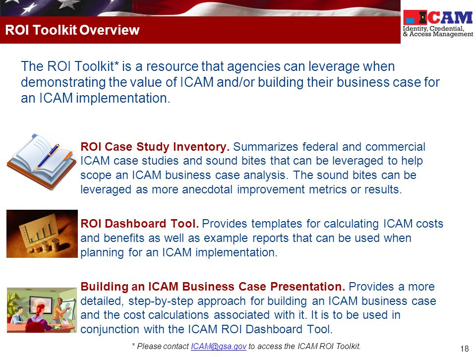 * Please contact ICAM@gsa.gov to access the ICAM ROI Toolkit.