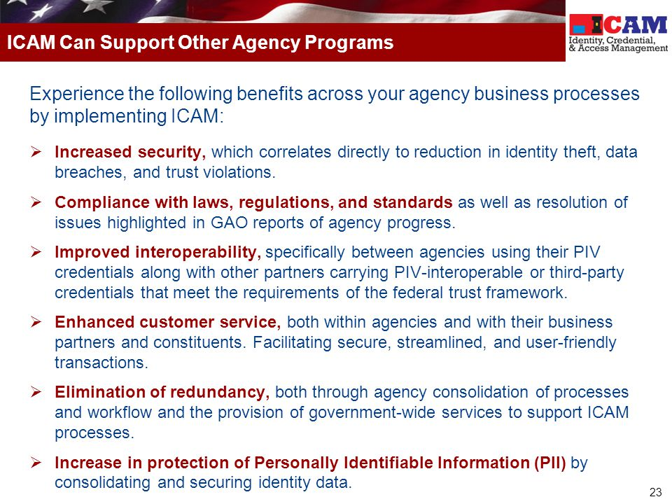 ICAM Can Support Other Agency Programs