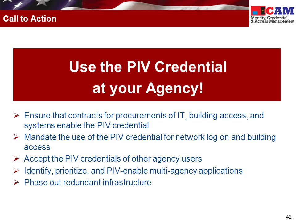 Use the PIV Credential at your Agency!