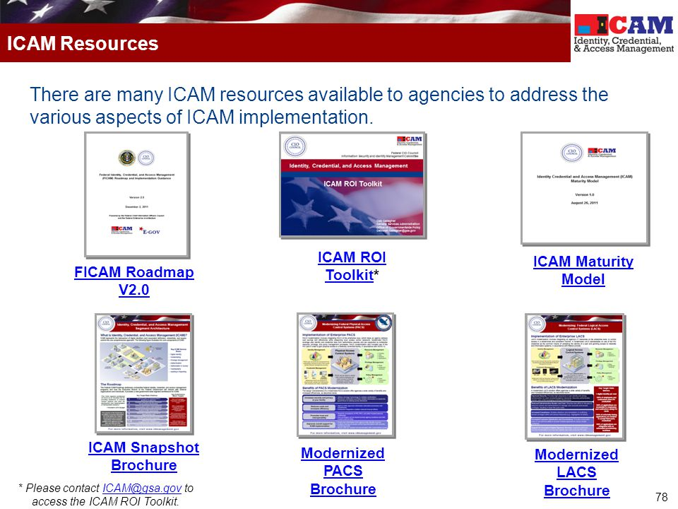 ICAM Resources There are many ICAM resources available to agencies to address the various aspects of ICAM implementation.