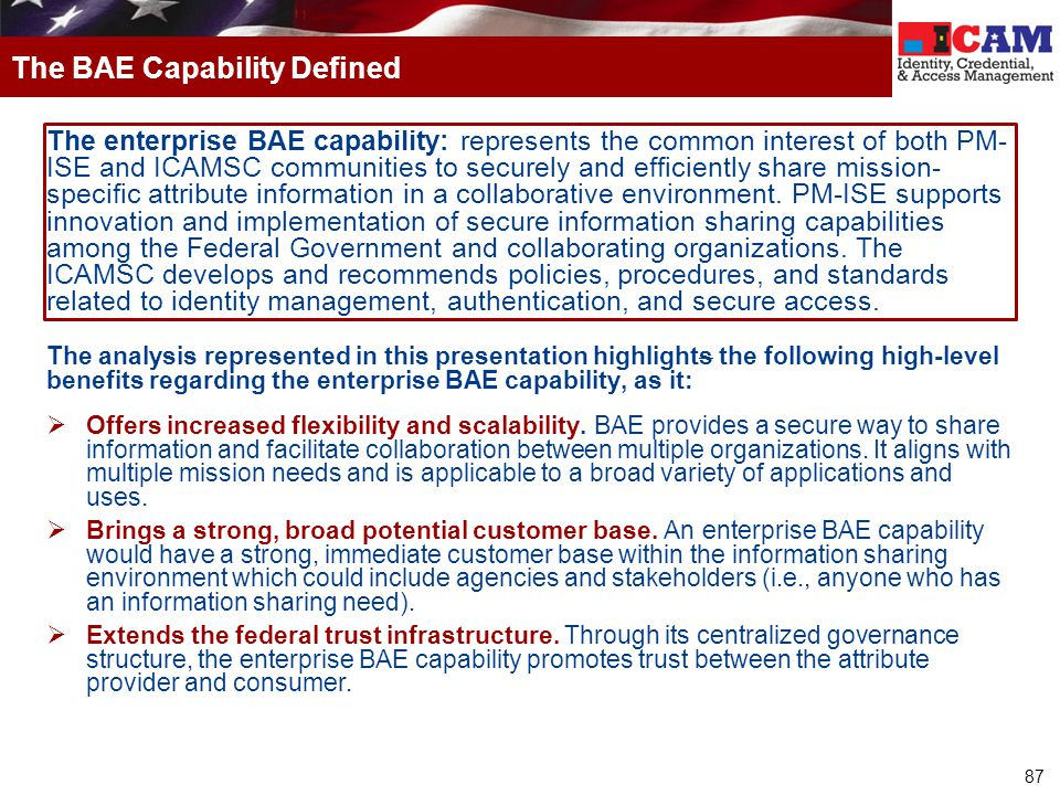 The BAE Capability Defined