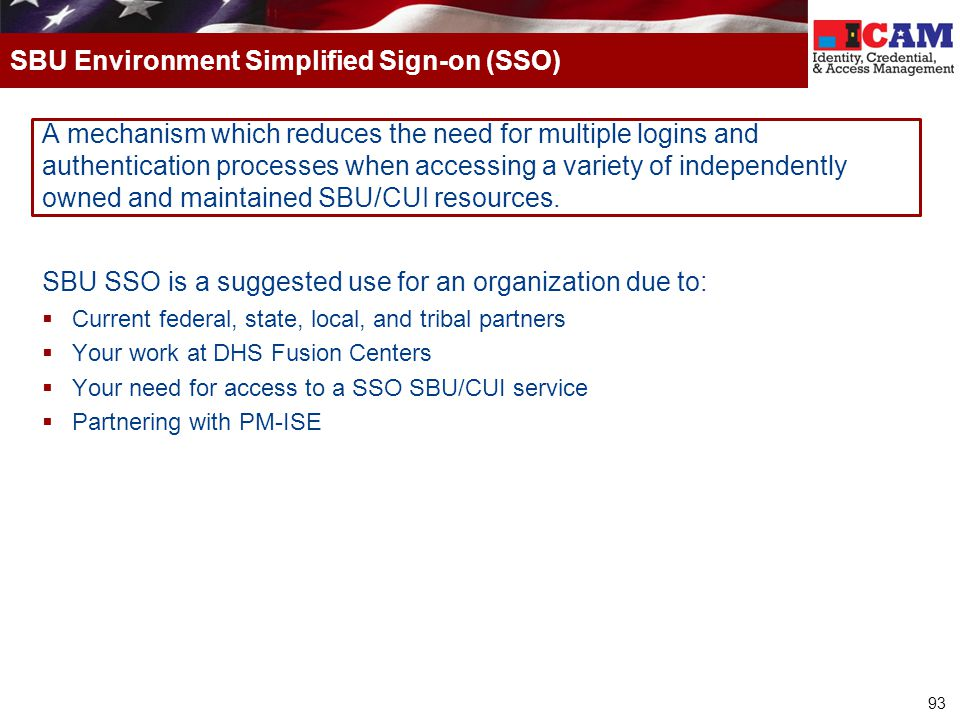 SBU Environment Simplified Sign-on (SSO)
