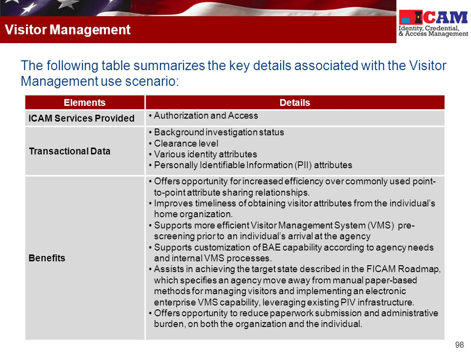 Visitor Management The following table summarizes the key details associated with the Visitor Management use scenario: