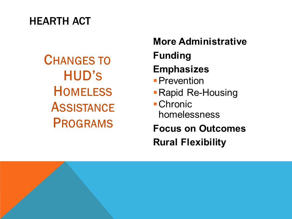 Changes to HUD's Homeless Assistance Programs