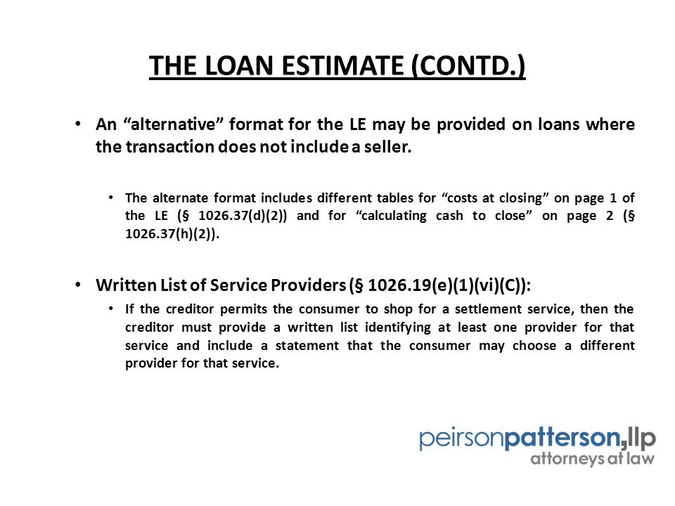 THE LOAN ESTIMATE (CONTD.)