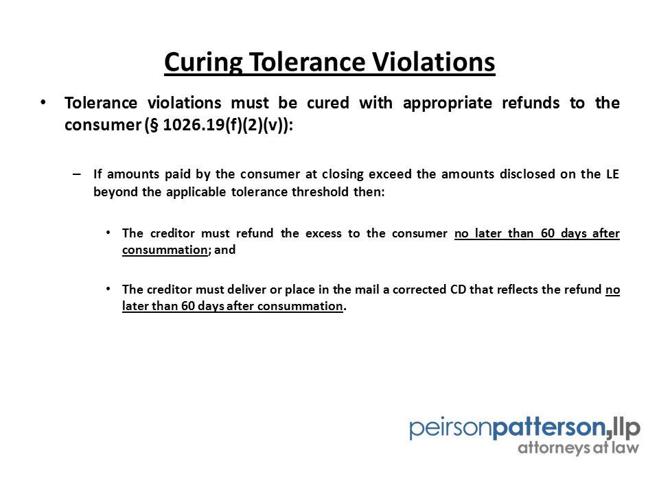 Curing Tolerance Violations