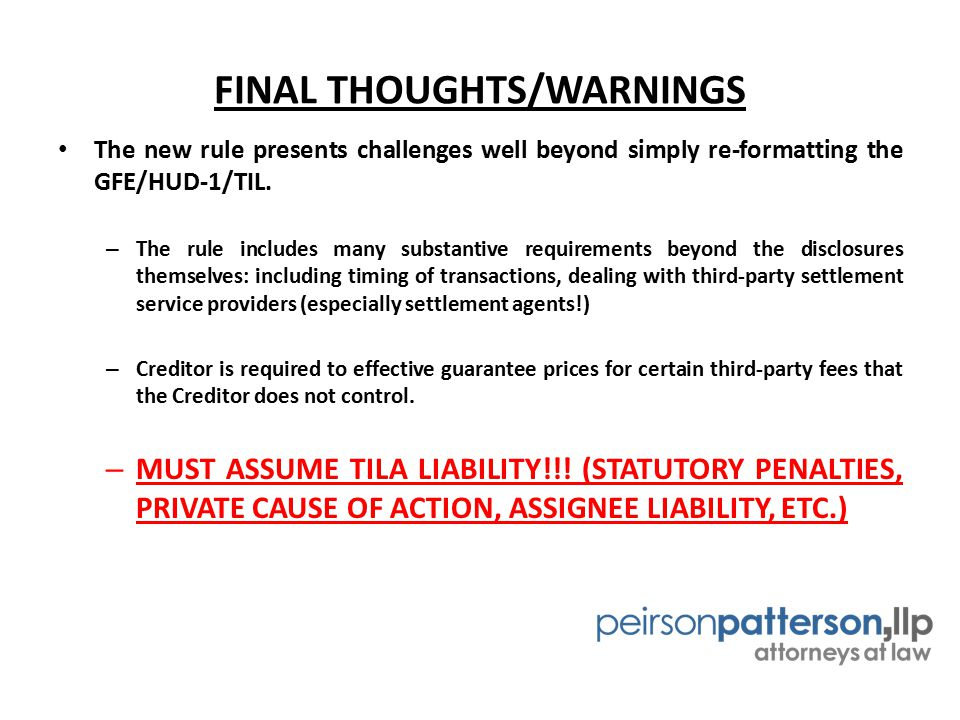 FINAL THOUGHTS/WARNINGS