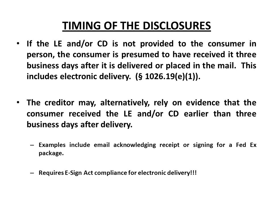 TIMING OF THE DISCLOSURES