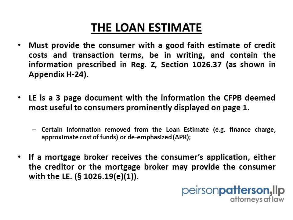 THE LOAN ESTIMATE