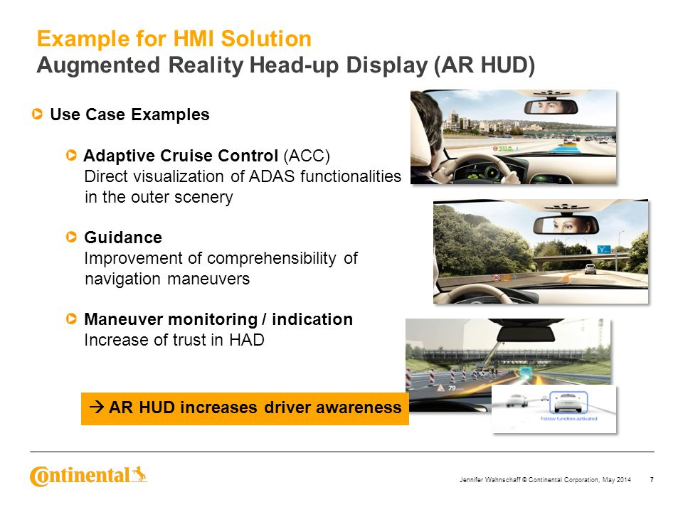 Example for HMI Solution Augmented Reality Head-up Display (AR HUD)