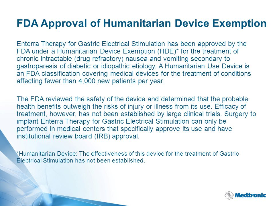 FDA Approval of Humanitarian Device Exemption