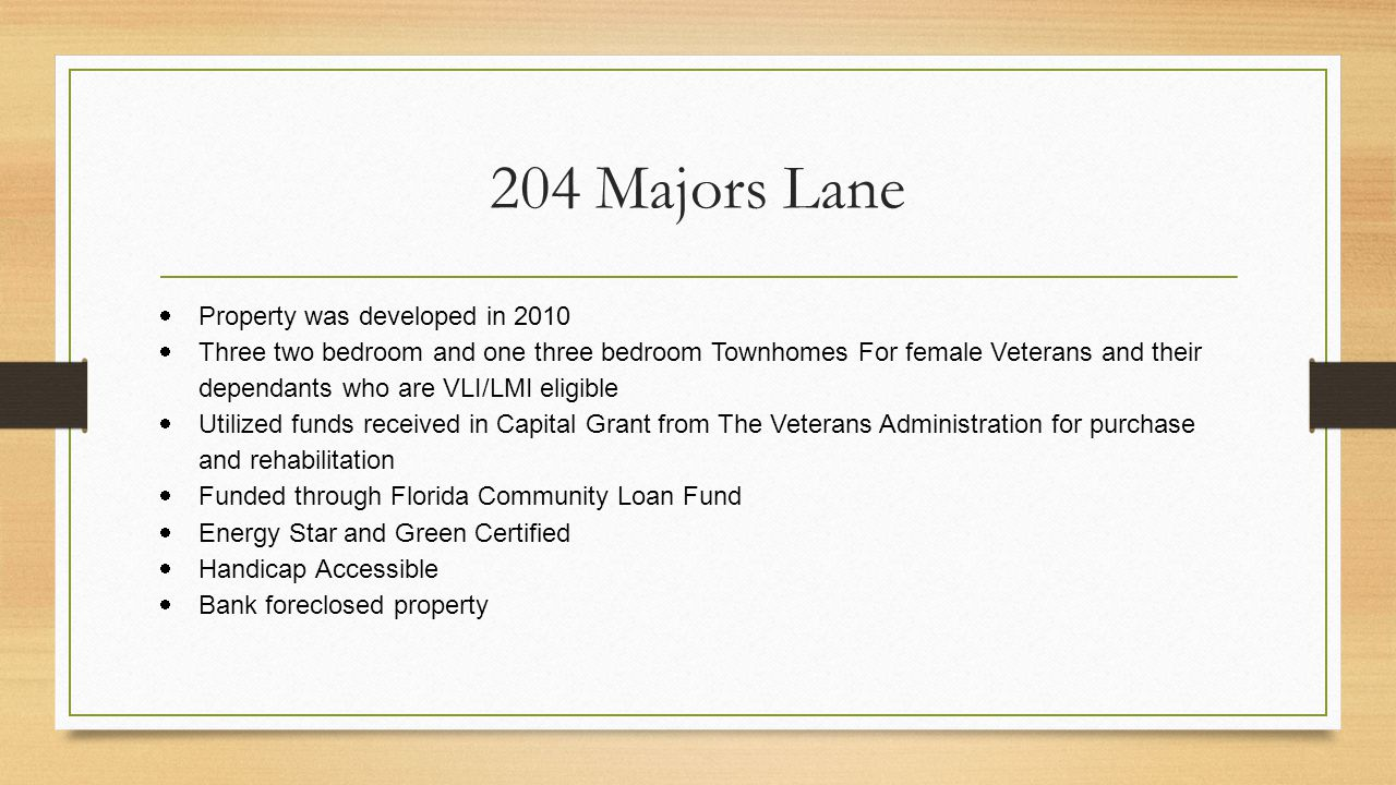 204 Majors Lane Property was developed in 2010