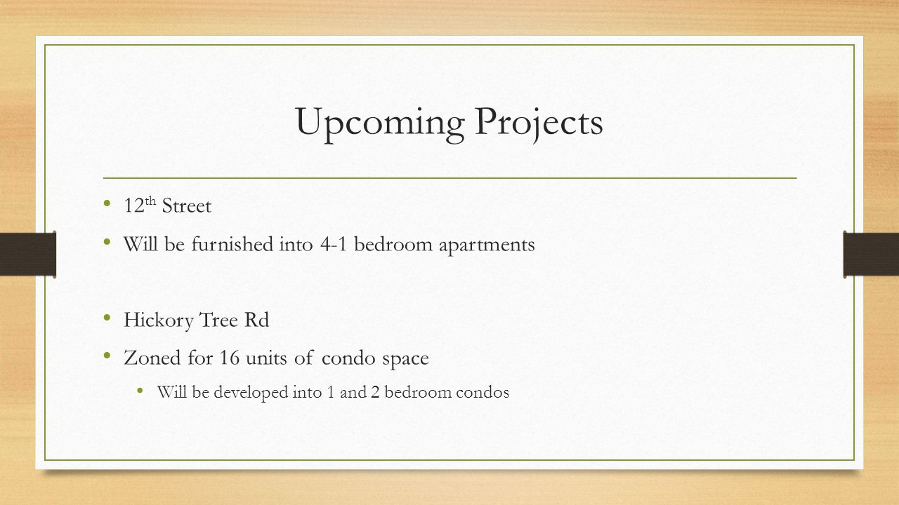 Upcoming Projects 12th Street