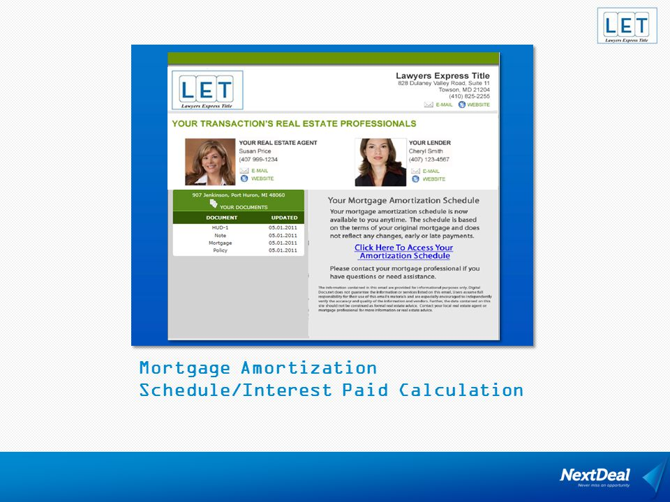 Mortgage Amortization Schedule/Interest Paid Calculation