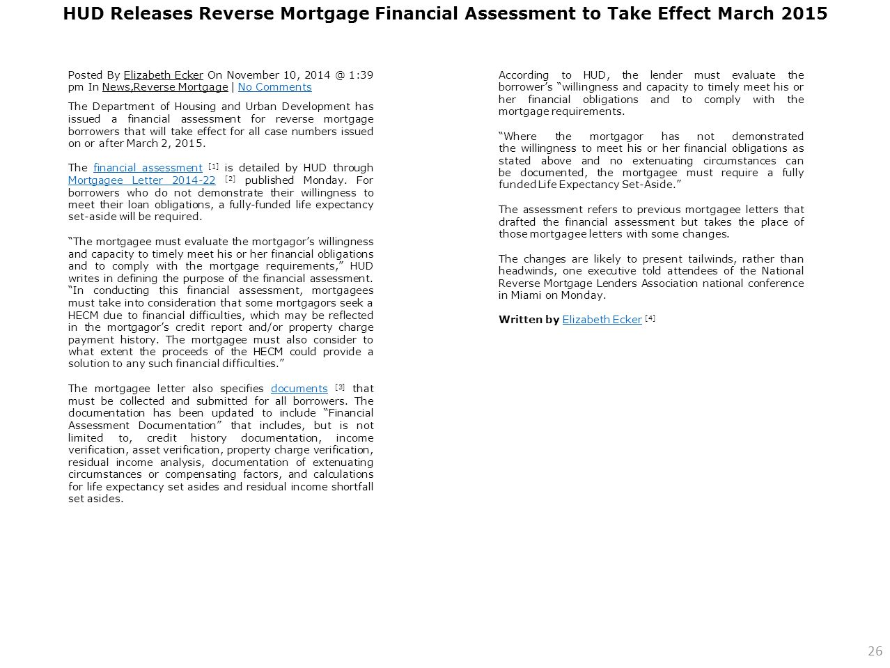 HUD Releases Reverse Mortgage Financial Assessment to Take Effect March 2015