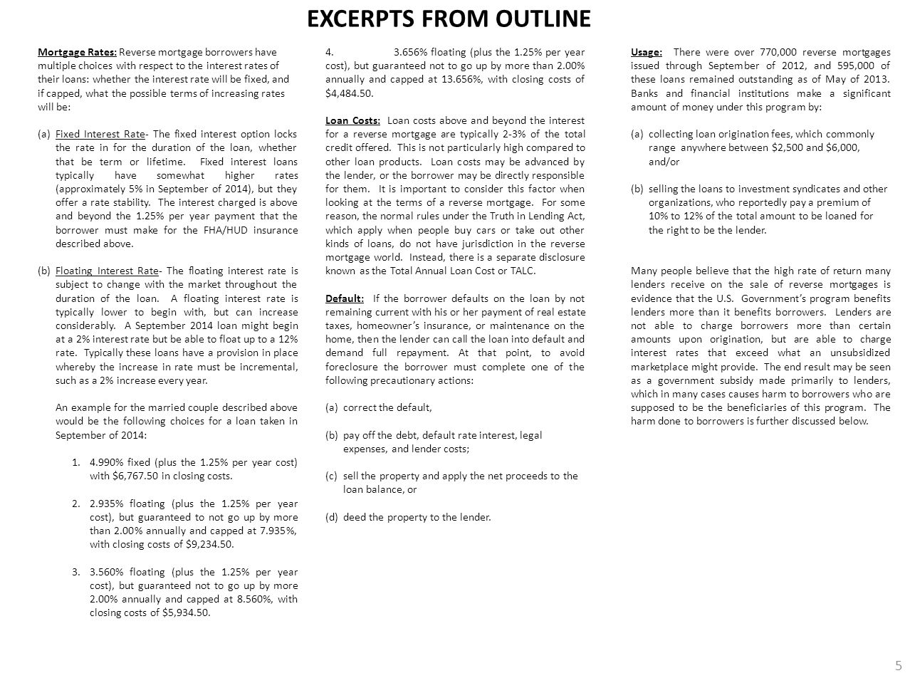 EXCERPTS FROM OUTLINE