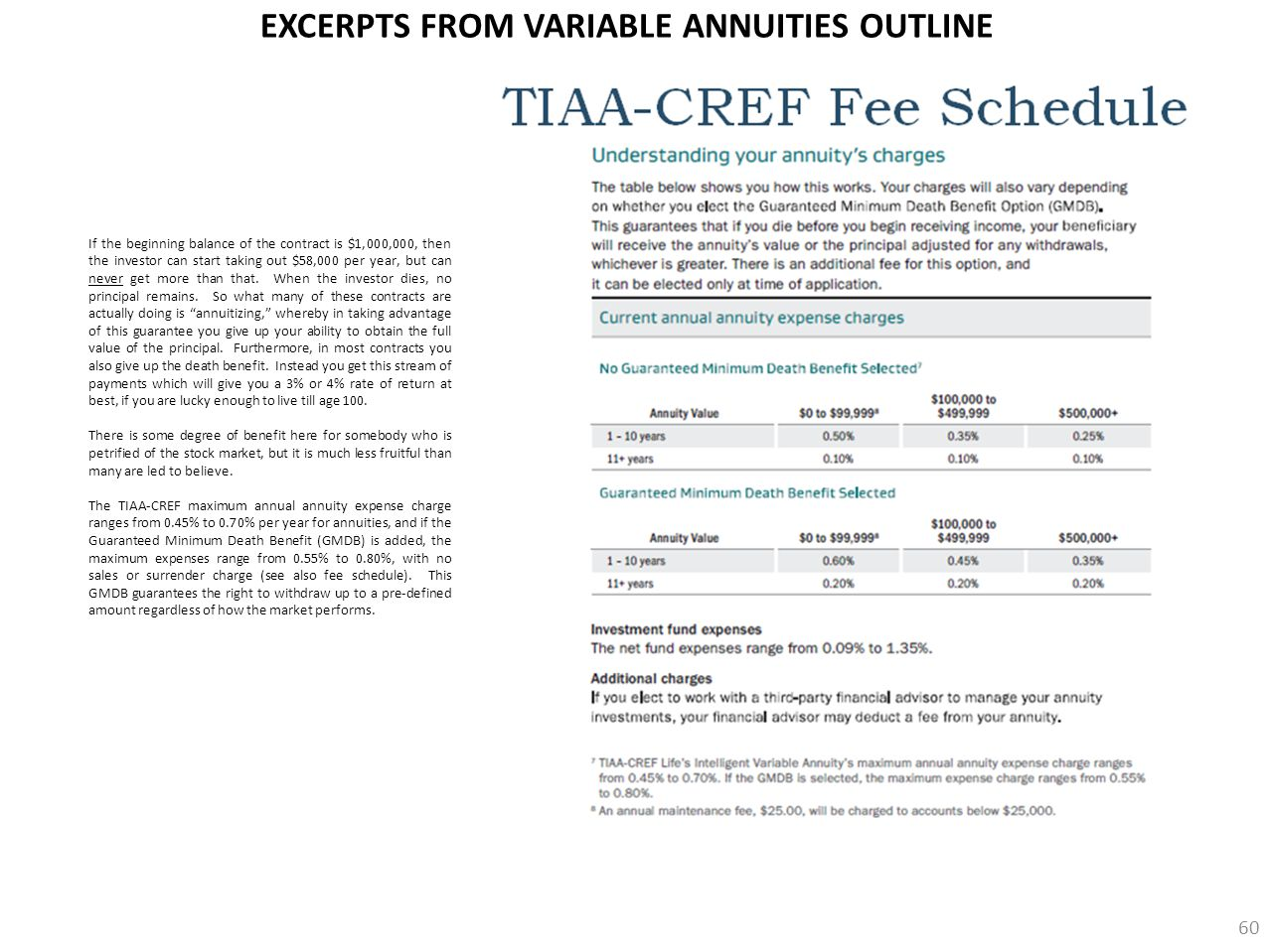 EXCERPTS FROM VARIABLE ANNUITIES OUTLINE