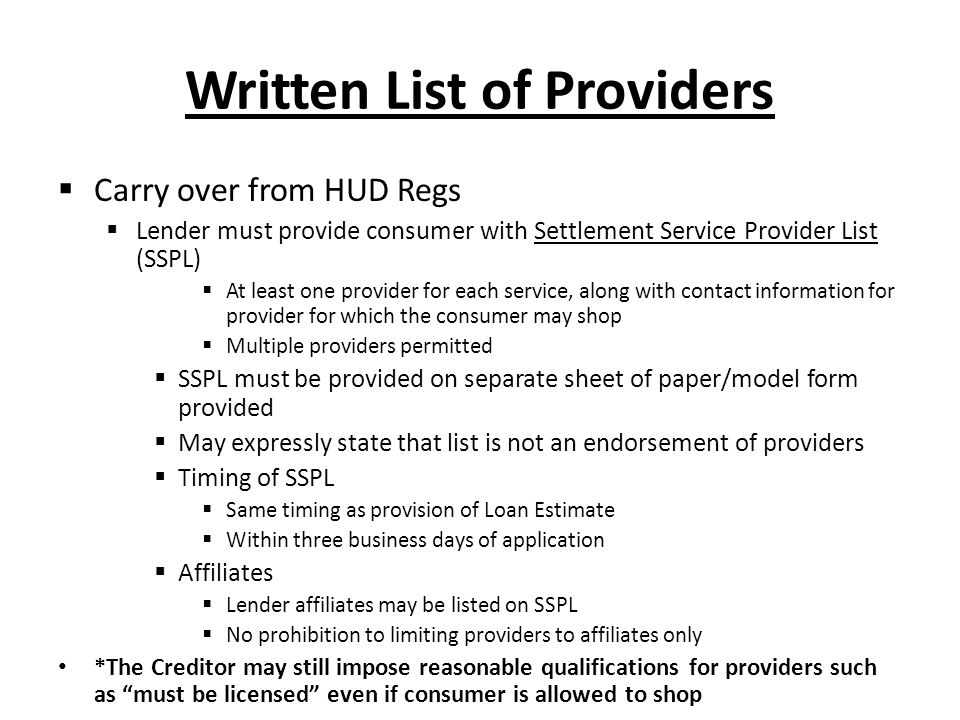 Written List of Providers
