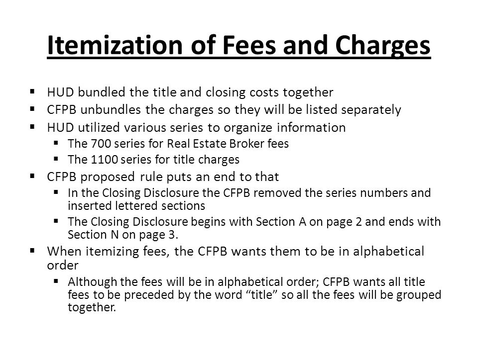 Itemization of Fees and Charges