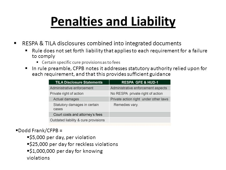 Penalties and Liability