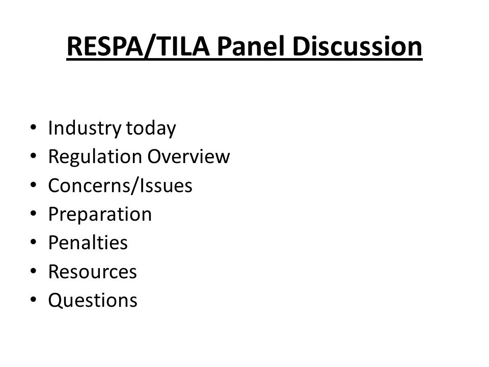RESPA/TILA Panel Discussion